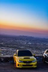 Phoenix JDM (sarahricebsn) Tags: subaru wrxsti sti yellowsting phoenix southmountain arizona sunset desert