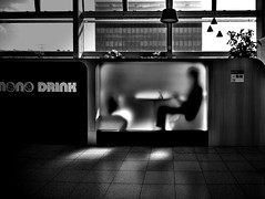 nono DRINK... (明遊快) Tags: monochrome silhouette spotlight window man blackandwhite sunlight shadows japan dark notebook contrast lines box