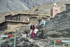 Travail (meg21210) Tags: tizinticka morocco women man highatlas mountains mountain town village mosque minaret loads carryingloads climbing house houses structures buildings travail work