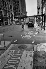Look - A Truck.jpg (Milosh Kosanovich) Tags: silverfast chicagophotographicart bikerider fujimicrofine11 chicagophotoart chicago bwfilm kodakdoublex5222 truck mickchgo miloshkosanovich bikelane epsonv750pro chicagophotographicartscom washingtonstreet nikonf100