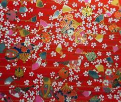 Handmade Japanese paper (tengds) Tags: japanesehandmadepaper washi yuzenwashi chiyogami red white flowers fans tengds