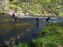 Crossing the river at Broad Steps (b∞giebabe) Tags: dartmoor adventure fundraiser fun wildswimming