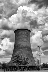 Cooling tower (fil.nove) Tags: torino tower decay derelict industrielle industry forgotten lost abandonned abandonné urbanexploration urbex canon60d tamron1750 blackandwhite biancoenero monocromo monochrome chimney energy steam power coolingtower sky nuclearreactor builtstructure fumes turin clouds nuvole cielonuvoloso pareidolia perspective prospettiva