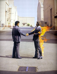 Getting Burned (n.a.) Tags: pink floyd man men shaking hands getting burned suit fire hollywood set aubrey po powell wish you were here
