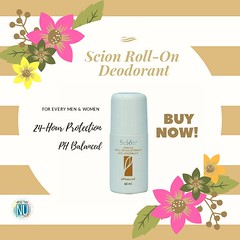 Scion Whitening Roll-on Deodorant Anti-perspirant provides protection against body odor and lightens your underarm in as early as 3-4 weeks* with everyday use.  VARIANTS:  • 24-Hour Protection  • pH-Balanced  TARGET AUDIENCE:  Daily use for men and women (Yhueen07) Tags: 24hours nuskinph20 beautyandhealth nuskin healthynuoptions healthierandyoungernu whiteningdeodorant deodorant