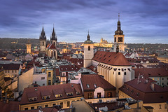 Aerial View of Church of Our Lady before Tyn, Old Town and Prague Castle in the Evening, Prague, Czech Republic (ansharphoto) Tags: aerial architecture bohemia capital castle church city cityhall cityscape clocktower czech dusk europe european evening famous golden gothic hall history lady landmark landscape medieval night old praga prague praha red republic roof rooftops saint scenic sky skyline sundown sunset tourism tower town townhall travel twilight tyn tyne urban view vitus