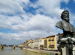Arno River of Florence (stardex) Tags: statue river cloud sky arnoriver florence italy building architecture