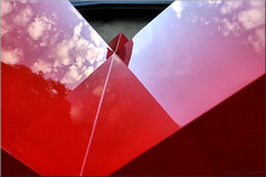 red clouds (Bernergieu) Tags: red rot art kunst abstract abstrakt bern tramdepot schweiz switzerland lookingup clouds wolken reflection