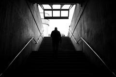 Stadelhofen (maekke) Tags: stadelhofen calatrava symmetry architecture trainstation publictransport zürich streetphotography fujifilm x100t 35mm bw noiretblanc 2018 ch switzerland silhouette man