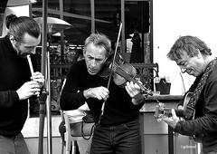 trio de rue (quentinmirabelle) Tags: rue violon noir blanc musiciens black white monochrome gil revol guitare flute concert