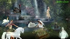 """LE CHANT DU CYGNE A L'AGONIE ! (christabelle12300 et pitchounet) Tags: fantasy unicorn fantasie swans music bow imagination artdigital """"exoticimage"""" untouchabledream worldclassphoto"""