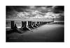 Out To Sea (Mark Lindstrom) Tags: beachcleethorpes olympusem1mk2 olympus1240f28 leendhardgrad leepolariser leebigstopper monochrome bw beach groynes sea moody