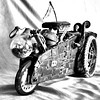 Steampunk Car (Charlotte P.Denoel) Tags: fineart monocromatic monochrome monochrom nb noiretblanc blackandwhite bw original abstract art steampunk car voiture metal roue ampoule