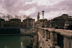 (thomas100) Tags: nikon fm3a kodak ektar rome italy bridge river tiber sky clouds streetlights cross