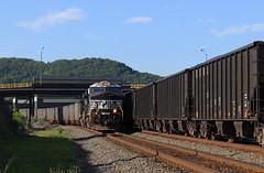 System train meet (GLC 392) Tags: ns norfolk southern ge gevo es40dc 7645 7651 load empty coal train railroad railway coke works pa pennsylvania uss clairton