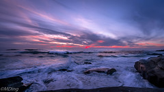 Boiling Sea at the Last Moment of Light (Maria Ding) Tags: sunset beach bluehour wave southerncalifornia sandiego