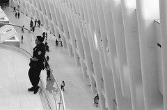 got eyes on my back too; inside the Oculus, WTC New York (NYC Macroscopist) Tags: oculus nyc newyork wtc worldtradecenter nypd manhattan architecture shopping pattern geometric