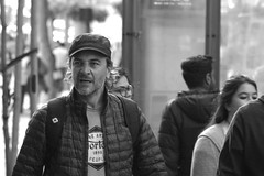 Market St Candid 4-22 42 (TheseusPhoto) Tags: monochrome blancoynegro blackandwhite bnw people candid candids noir monotone city citylife streetphotography street sanfrancisco california guy stubble