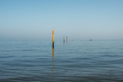 The posts (markfly1) Tags: portsmouth harbour seascape island view isle wight red yellow green blue rgb primary colours colors minimalist image central horizon ble nikon d750 35mm manual focus lens