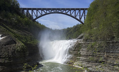 Upper Falls 2 (K McGuckin) Tags: letchworth letchworthstatepark ilovenewyork newyork upstatenewyork sony a7ii sonyalpha sonya7ii zeiss carlzeiss 1635f4 zeiss1635 waterfall bridge water river geneseeriver longexposure
