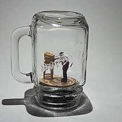 "Miniature figure in a tiny stein. ""Just One More Drink"" (Backwards lamb) Tags: hoscale beer miniature stein tinybarman funinajamjar"