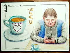 Café + portrait aux crayons aquarelle. (cecile_halbert) Tags: dessin crobard croquis croquissurlevif tasse cafe character portrait watersolublepencils watercolorpencils sketch sketching sketchbook sketcher crayonsaquarellables coffee mug urbansketching croquisurbain urbansketch