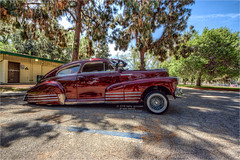 1947 chevy fleetline (pixel fixel) Tags: 1947 bbq candyred chevrolet cincodemayo elegantsmontebellocc fleetline latimescc legglake sideview tweakedpixels whittiernarrows whittiernarrowsrecreationalpark ©2018kathygonzalez