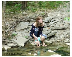 Start 'em Young (Picsnapper1212) Tags: nature mother baby learning teaching touching feeling seeing water creek stream caesarcreekstatepark warrencounty ohio