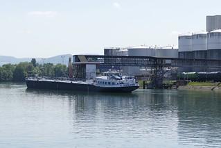 ship Malmö on rhine in Auhafen Muttenz Switzerland 2018