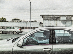 Concentrate, Not! (p) (davidseibold) Tags: america california drivebyphotography hwy101 iphoneography jfflickr painting people phoneshot photosbydavid postedonfb postedonflickr stranger unitedstates usa vehicle southsanfrancisco