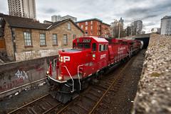The Urban ECO (Wheelnrail) Tags: cp canadian pacific train trains emd gp20ceco locomotive railroad rail road hamilton ontario on gta toronto rails 254 freight downtown urban subdivision