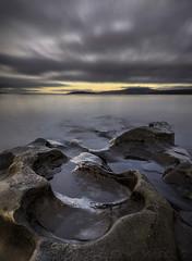 The Crack of Dawn (SkyeWeasel) Tags: scotland skye broadfordbay landscape seascape longexposure shoreline dawn rock sky
