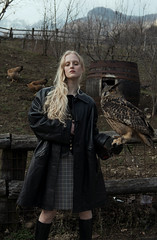 Owls Tamer (Alice Consonni) Tags: vogue photography photo portrait portraiture photoshoot posing photographer people photoshop practice woman wood tree young italy outdoor alice consonni creative amateur art artistic nikon d810 natural nature fine fashion female girl albino makeup light beauty model owl blonde countryside