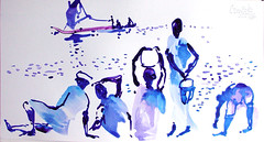 AFRICA TO THE NAKED 289 (eduard muntada) Tags: africa to the naked oxid 289 survive watercolor drawing dessin africanpeople minimal simplicity river boat mountains sun light