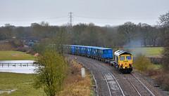 It Was A Wet March (whosoever2) Tags: uk united kingdom gb great britain nikon d7100 train railway railroad march 2018 freightliner class66 66520 ashley cheshire runcorn garbage trash rubbish