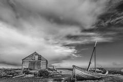 Thornham Quay (andybam1955) Tags: quay landscape monochrome coastal sky northnorfolk boats sea norfolk clouds