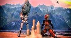 CyberneticSandCastle (Loralee Lectar) Tags: beach mountain sand castle cybernetics prosthetics scifi alien tattoo lelutka maitreya ay omnis bikini fjord azoury neurolab letis tram seagulls