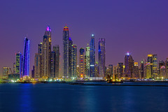 Dubai Marina Skyline (under_exp0sed) Tags: dubai nightscape cityscape citylights marina reflection landscape