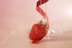 Strawberry slide (Elisafox22) Tags: elisafox22 sony nex6 helios442 helios madeinussr 258 8blade vintagelens hbw bokehwednesday lifeisarainbow strawberry fruit ribbon glass photoshop stilllife textures textured wineglass colours layers indoors elisaliddell©2018