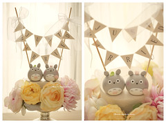 "Handmade Totoro トトロ MochiEgg with ""just married"" cake banner wedding cake topper, characters wedding cake decoration ideas (charles fukuyama) Tags: weddingideas weddingdetails weddingdecor ceremony handmadecaketopper customcaketopper claydoll sculpted couplecaketopper marriage uniquecaketopper cute cartoons boda nozze 結婚式 hochzeit mariage kikuike"