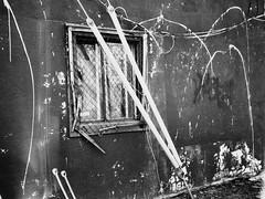 Bric-à-brac de ruelle... (woltarise) Tags: montréal rosemont quartier ruelle mur tags fenêtre argentique film fp4 ilford olympus mjuii rès très authentique