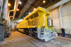 Coat of yellow (Moffat Road) Tags: unionpacific up ge es44ac 5401 paint paintshop downingbjenksshop locomotiveshop yellow northlittlerock arkansas locomotive train railroad ar