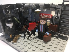 Basement Planning Room (DarkNinjaCustoms) Tags: lego citizenbrick brickarms custom heist planning brickforge eclipsegrafx tinytactical firestar toys minifigcat