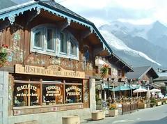 Chamonix, France  with Mount Blanc glacier - 2003 (stevelamb007) Tags: france chamonix mtblanc glacier restaurant stevelamb 2003