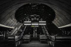 Canary Wharf Tube Station (cliveg004) Tags: canarywharf tubestation escalator stairs roof architecture selectivecolour bw blackandwhite monochrome city building urban nikon d5200 londonflickrmeet2018