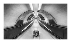 Convergence (GlennDriver) Tags: black white bw symmetry mono monochrome station underground london uk england canon rail train tube