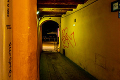 Ristorante/Bar (Steven Strasser) Tags: italy umbria perugia night nightlights nightscape urban city cityscape citystreets cityatnight citylights graffiti yellow orange restaurant bar