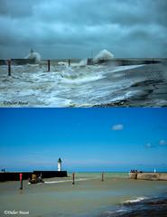 L'entrée du port de St-Valery-en-Caux à 24h d'intervalle (en haut le 30 avril, en bas le 1er mai) (didier95) Tags: stvaleryencaux normandie tempete mer vague phare seinemaritime bleu