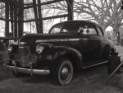 Special Deluxe (LivGreen) Tags: 1940 chevrolet specialdeluxe classic car coupe barn blackandwhite automobile