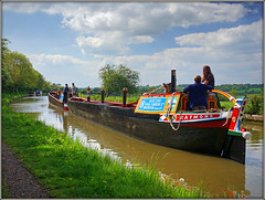Nutfield & Raymond (Jason 87030) Tags: workboat wooden nutfield raymond people man woman girl canal cut event sunny may water grandunioncanal blueline scene view towpath countryside nortonjunction greatbritain unitedkngdom historic county northants northamptonshire outdoors shoot